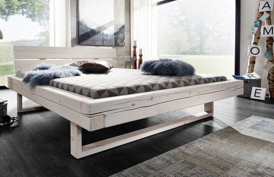 Balkenbett Bett Doppelbett 180x200cm Fichte Holz massiv weiß NEU OVP!!
