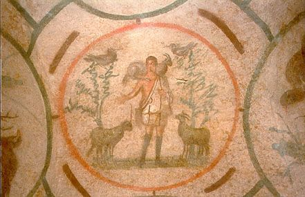 Christ as the Good Shepherd, fresco, 3rd century, Roman Catacombs