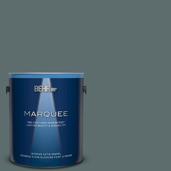 Behr Marquee 1 Gal Ppu12 19 Mountain Pine One Coat Hide Satin Enamel Interior Paint And Primer In One 745301 The Home Depot Behr Marquee Behr Marquee Paint Behr