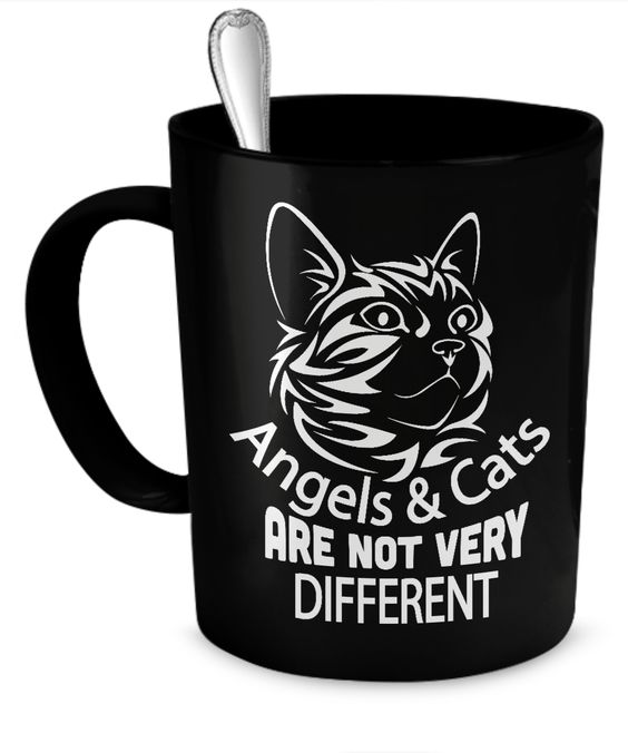 Angels And Cats Are Not Very Different - All Black 11 oz Mug