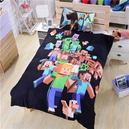 Minecraft Out USA Duvet Cover Bedding Comforter Set Twin Full/Queen Black & Green