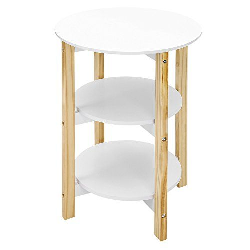 Songmics 3 Tier Round End Table With Pine Wood Legs Storage Rack Sofa Side Table Plant Stand White Nature Ulet05wn Sofa Side Table Coffee Table Table