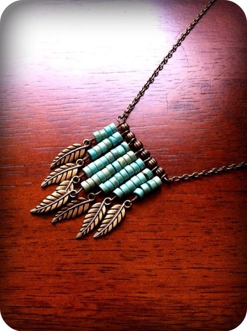 Found this beautiful necklace here. Here is how to make your own: You will need: • chain • clasp • 2 jump rings • 8 eye pins • 7 charms • 6 seed beads of one color (brown in pic) • 100 seed beads of...: