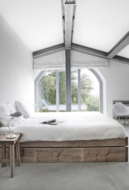 #chambre #blanc #bois #gris