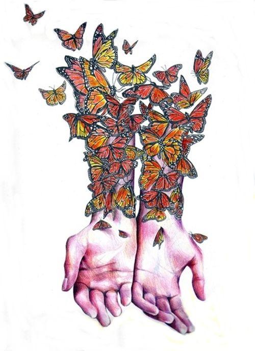 mains, papillons, bras