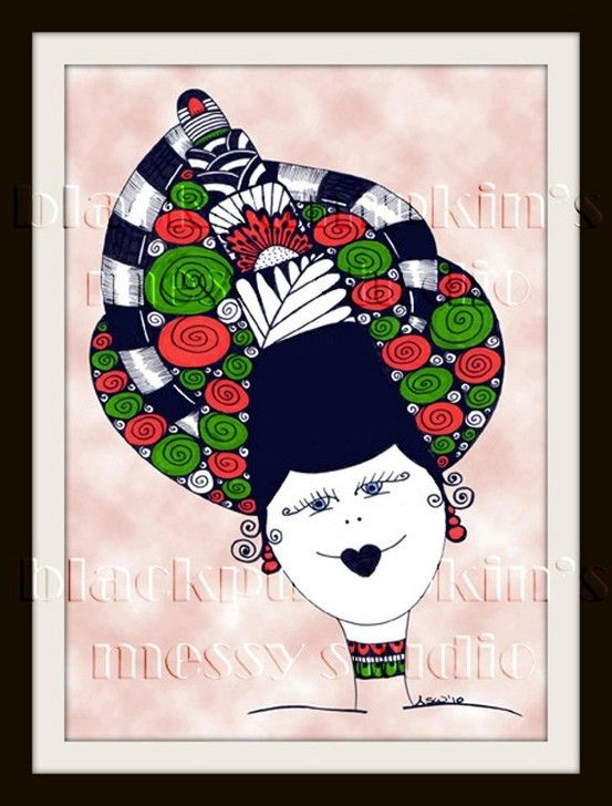 """Lyuba"" 5x7 print from my Ladies' Hats collection $7.30 #print #face #hat #japan #doodle #gift #head #collection BlackPumpkin.etsy..."