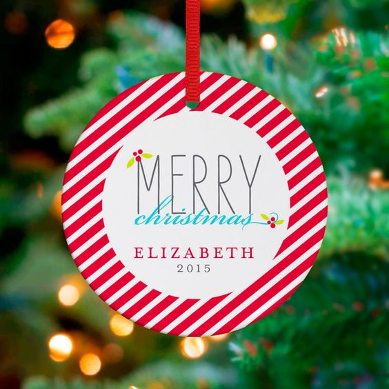 Merry Stripes Personalized Ornament by Stacy Amoo Mensah