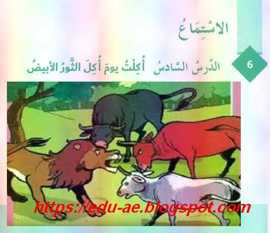 نص استماع درس أكلت يوم أكل الثور الأبيض مادة اللغة العربية للصف السابع الفصل الثالث 2019