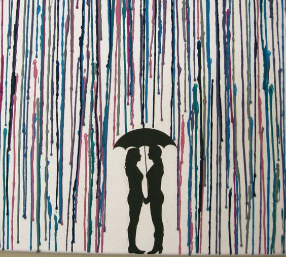 Handmade Encaustic Wax Painting - Melted Crayon Art - Lesbian Gay Women Couple Under Umbrella in The Rain - 16x20 by FembyDesign