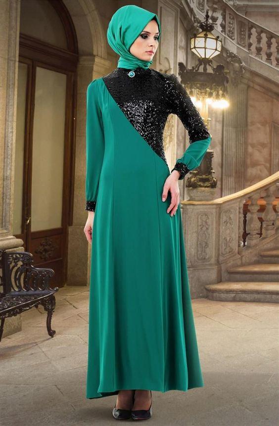 Puane Payet Detaylı Abiye Elbise-Yeşil 4352-006-2101