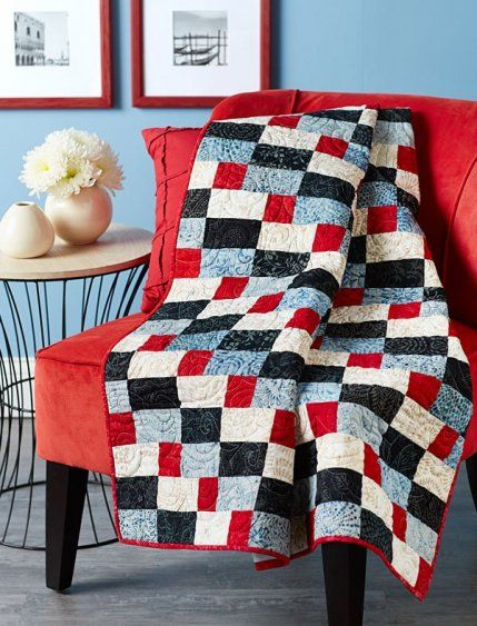Easy Quilt Patterns Using Precuts : Batik quilts, Quilt and Patriotic quilts on Pinterest