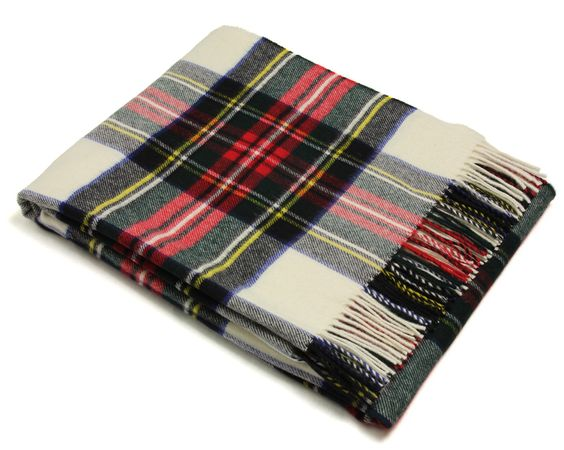 Bronte Throw Blanket - Tartan Throw - Merino Lambswool (Dress Stewart)