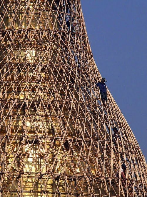 In some parts of Asia, scaffolding is made of bamboo and is even used when building very tall skyscrapers.: