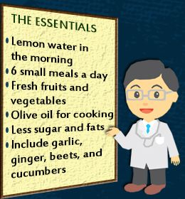 Good basic diet, substitute coconut oil for cooking. Olive oil on salads