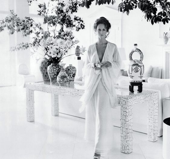 Estee Lauder Model Karen Graham.  Well, she is beautiful, but what about that vase of flowers?