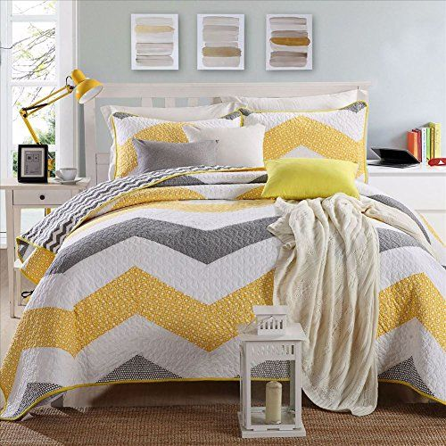 Miaote Retro 3 Piece Quilt Set Yellow Grey White Handma Https Www Amazon Com Dp B078g27h3t Ref Cm Sw R P Yellow Bedding Sets Yellow Bedding Bedding Sets Gray and yellow quilt sets