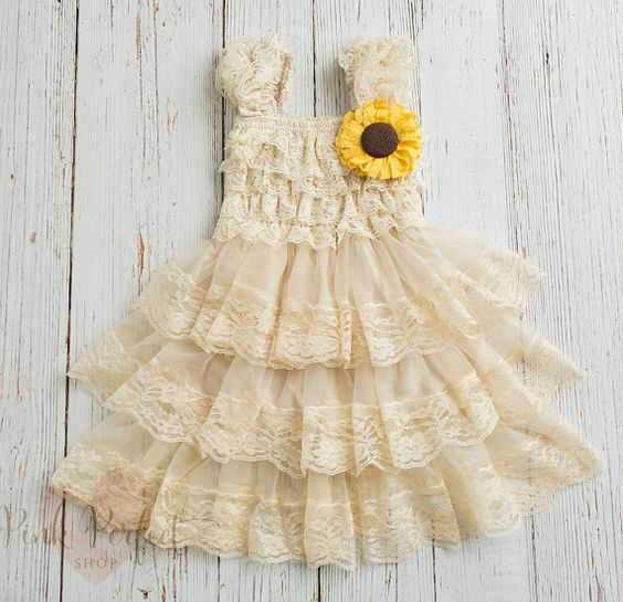 Rustic Flower Girl Dress ,Sunflower dress, Country flower girl dress, Girls dress, Flower girl lace dress, Baby dress,Sunflower burlap dress