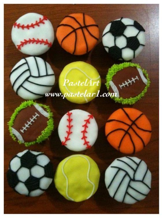 cupcales pelotas y balones, elaborados en fondant, pedidos desde 12 piezas