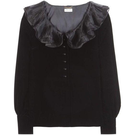 Saint Laurent Velvet Blouse (37.840 ARS) ❤ liked on Polyvore featuring tops, blouses, black, velvet blouse, yves saint laurent and velvet top