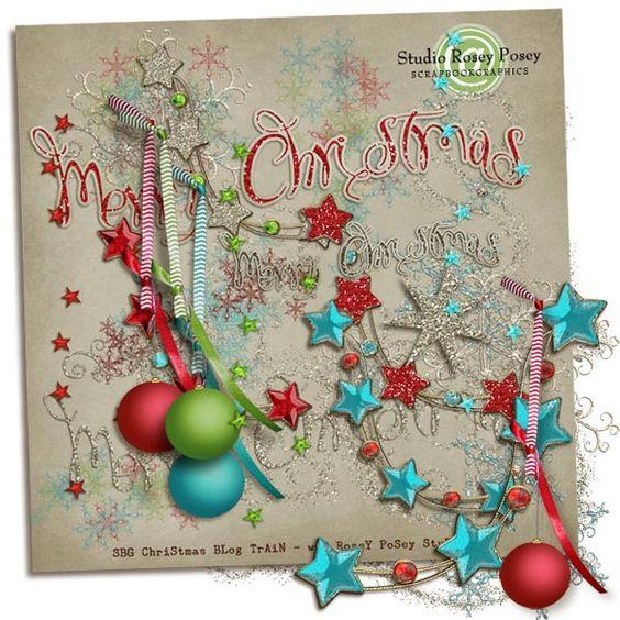 SBG Christmas Blog Train element pack from Rosey Posey Studio #digiscrap #scrapbooking #digifree #scrap #freebie #scrapbook