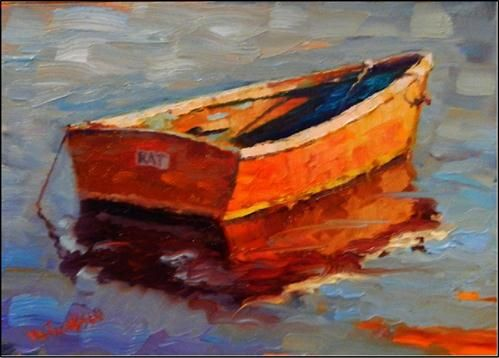 """""""The Rat Boat, paintings of old boas, small boats, wooden boats, rat boats, Rockport, Rockport harbor"""" - © maryanne jacobsen"""