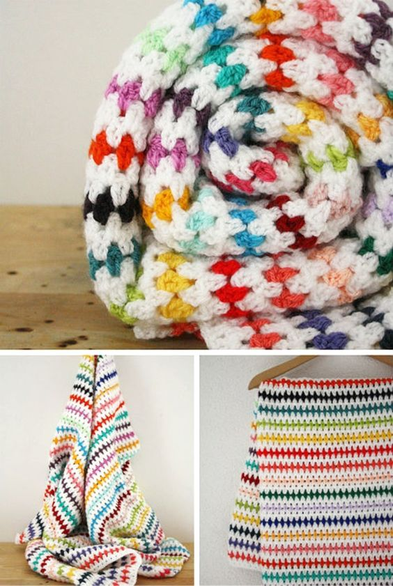 Crochet Diamond Stitch Blanket Free Pattern - Crochet Rainbow Blanket Free Patterns