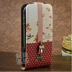 I like.....DC Red and White Polka Dot Magnetic Leather Flip Case with Flower Pattern and Eiffel Tower Design for Apple Iphone 4s / 4 (At, Verizon, Sprint)