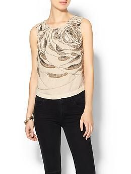 Haute Hippie Beaded Abstract Rose Top   Piperlime