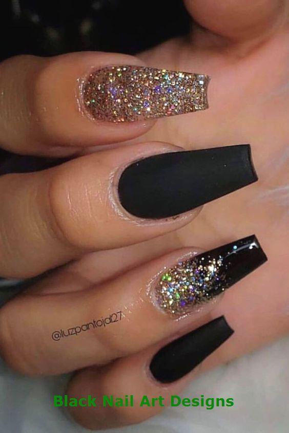 20 Simple Black Nail Art Design Ideas 1 Gold Glitter Nails