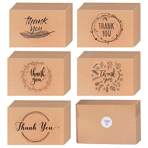 40 Kraft Rustic And Vintage Thank You Cards Bulk Box Set W Envelopes Stickers Large Brown 4 X 6 Gr Blank Cards Handmade Thank You Cards Thank You Cards