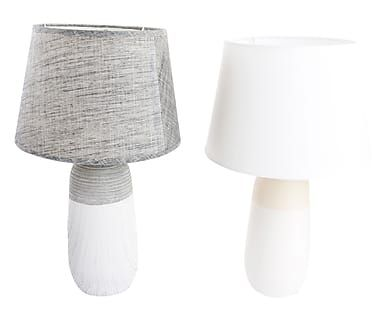 Set di 2 lampade da tavolo in ceramica e tessuto grigio e bianco ass., 24x40 cm