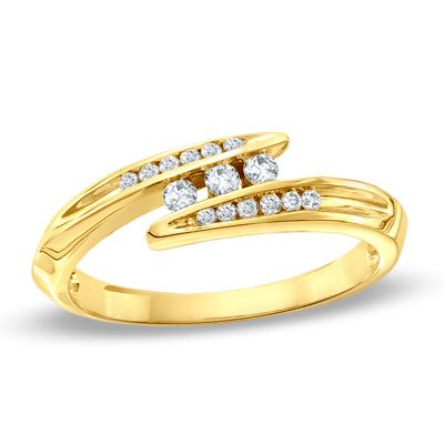 0.18 CT. T.W. Diamond Three Stone Bypass Ring in 10K Gold  - Peoples Jewellers