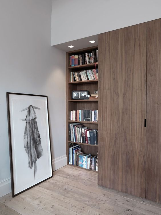 Built In Shelves Floor To Ceiling Wooden Sliding Doors Lights Interior Closet Wall