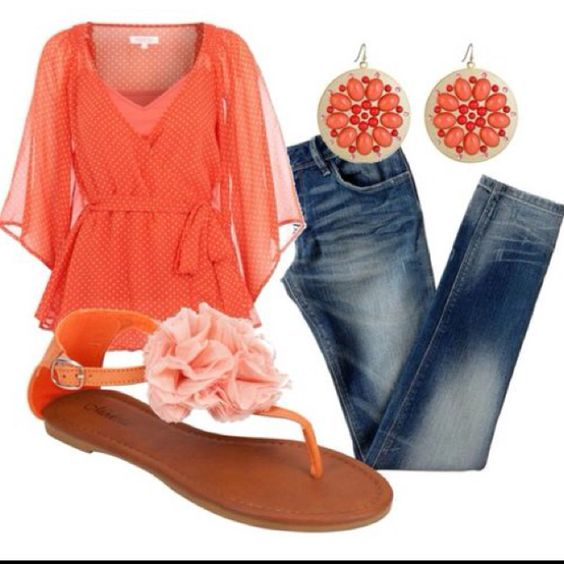Outfit: Summer Outfit, Dream Closet, Favorite Color, Summer Color, Spring Summer, Coral Outfit, Spring Outfit, Women, Coral Color