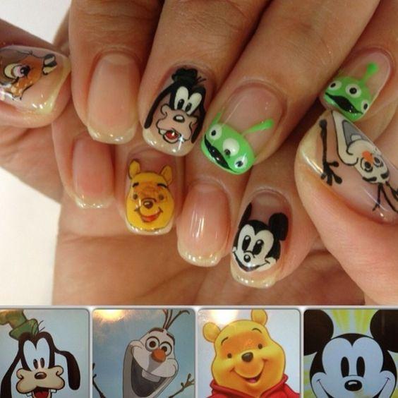 Nageldesign Gelnägel Ideen Winnie the Pooh Bär und seine Freunde