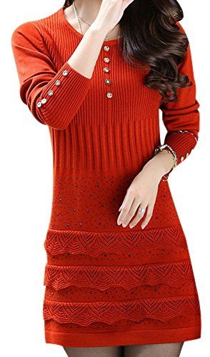 VonFon Womens Slim Fit Hook Flower Lotus Leaf Edge Long Sleeve Knitted Dresses Orange Vonfon http://www.amazon.com/dp/B00NPMUC6M/ref=cm_sw_r_pi_dp_DyDpub1BF4MVW