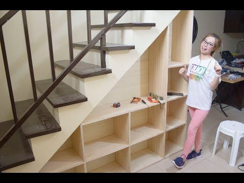 Building Shelves Under The Staircase With Storage Youtube