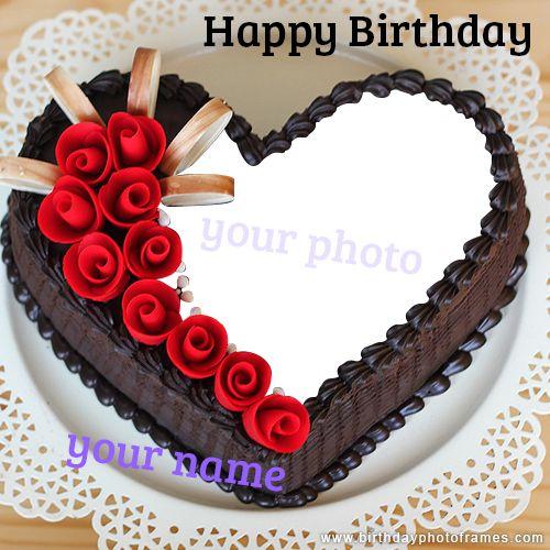 Chocolate Happy Birthday Cake With Name And Photo