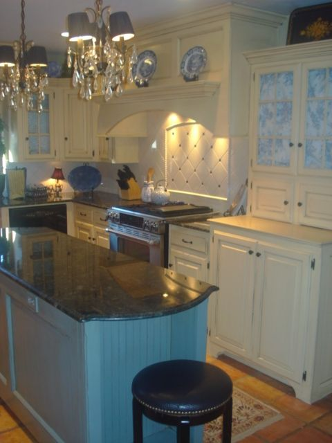 French Country Blue And Yellow Kitchen French Country