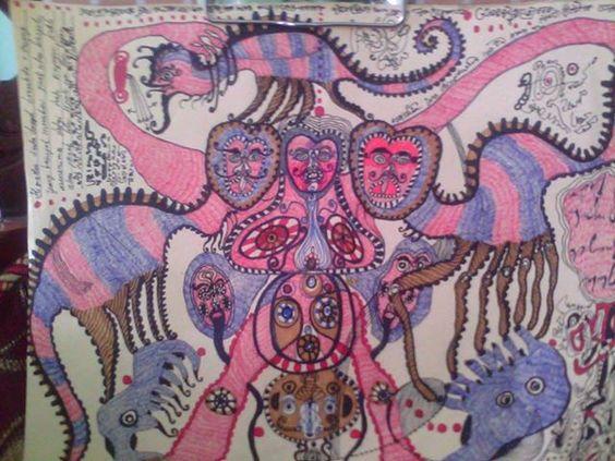 Eine Arbeit des 1979 geborenen Indonesischen Künstlers Noviadi Angkasapura, der in Jakarta lebt. Einige dieser Zeichnungen sind neben Arbeiten weiterer Künstler zu finden auf der Webseite www.aussenseiterk... und www.artbrut.li