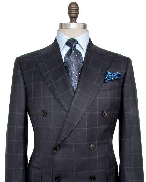 Ermenegildo Zegna Navy Windowpane Suit Double breasted jacket Peak lapel…