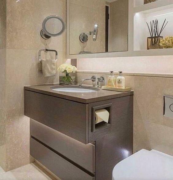 Papel higiênico embutido no armário  Banheiroslavabos  Pinterest -> Armario De Banheiro Com Porta Papel Higienico