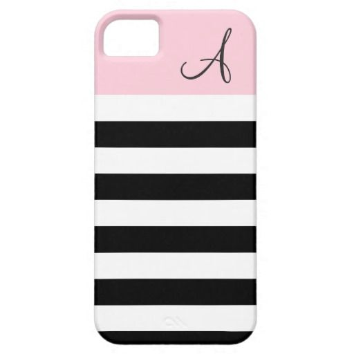 Pink and Black Striped Monogram iPhone 5/5s Case