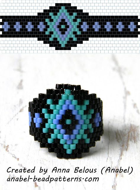 Схема кольца из бисера - кирпичное плетение / Brick stitch ring free pattern ~ Seed Bead Tutorials