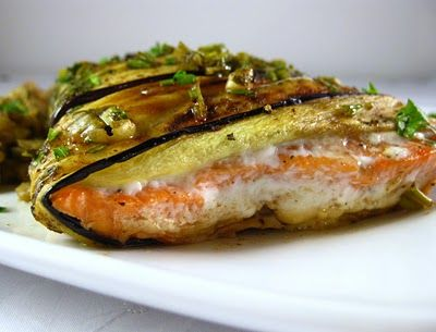 Eggplant-Wrapped Salmon with Pomegranate