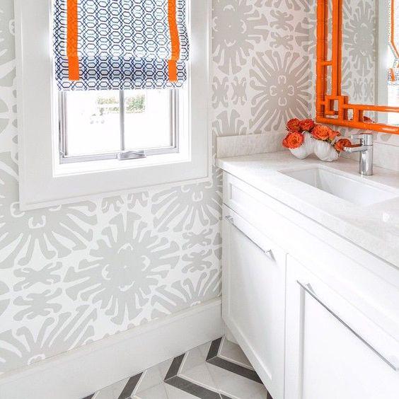 Grey orange bathrooms and roman shades on pinterest for Blue and orange bathroom