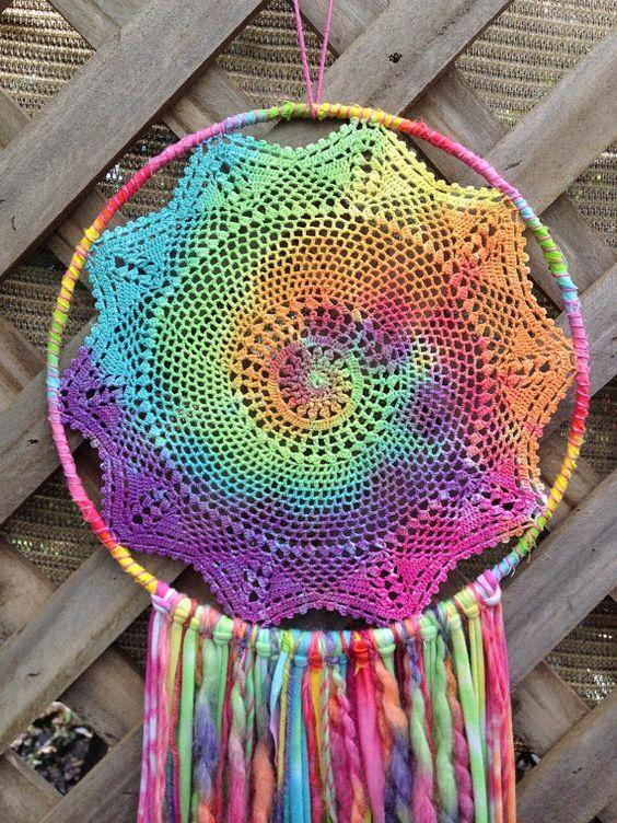 pastel rainbow tie dye vintage crochet doily by theindigobrush i 39 m bored pinterest. Black Bedroom Furniture Sets. Home Design Ideas