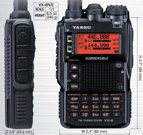 Yaesu VX-8DR // A super advanced multi-band handheld HAM radio. Stay in contact with your base or team for up to 5 miles. This radio has bluetooth and encryption functionality as well as GPS capability if properly equipt.