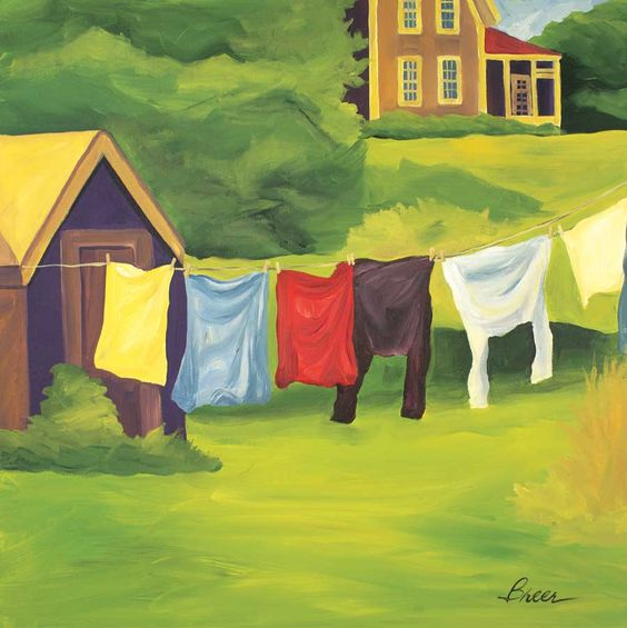 "LAUNDRY 6"" x 6"" print. Custom prints available. #laundry #maine #painting #art"
