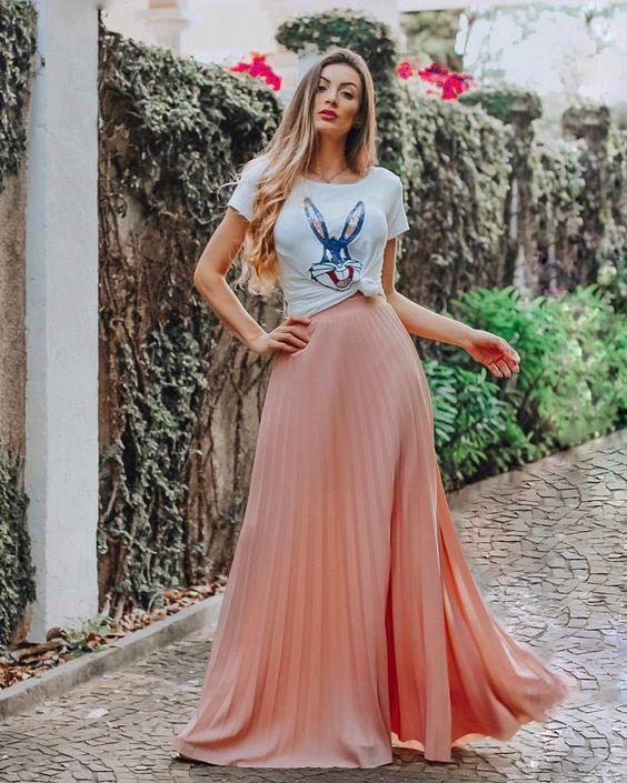 ⚡️ t-shirt + saia longa plissad